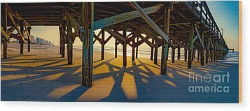 Springmaid Pier At Sunrise Wood Print