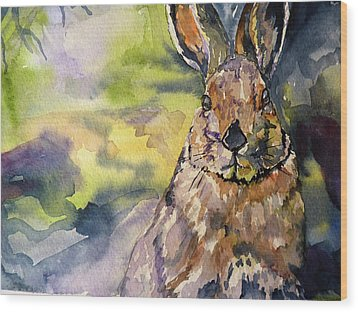 Wood Print featuring the painting Springs Almost Hare by P Maure Bausch