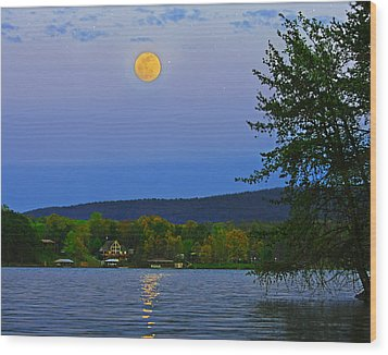 Spring's First Full Moon Smith Mountain Lake Wood Print by The American Shutterbug Society