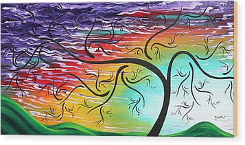 Springs Song By Madart Wood Print by Megan Duncanson