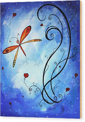Springs Sweet Song Original Madart Painting Wood Print by Megan Duncanson