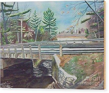 Springtime At Bass Lake Bridge Wood Print by LeAnne Sowa