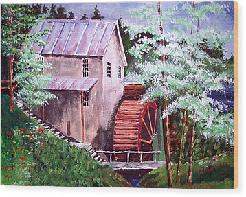 Wood Print featuring the painting Springtime At The Old Mill by Jim Phillips