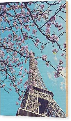 Springtime In Paris - Eiffel Tower Photograph Wood Print by Melanie Alexandra Price