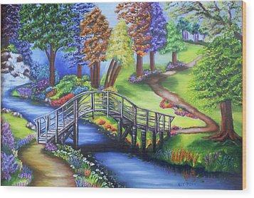 Springtime In The Park Wood Print