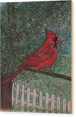 Springtime Red Cardinal Wood Print by Kathy Marrs Chandler