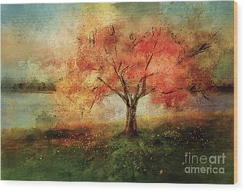 Wood Print featuring the digital art Sprinkled With Spring by Lois Bryan