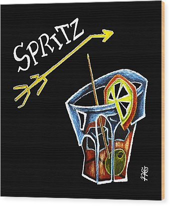 Spritz Aperol T-shirt Design Venice Italy - Venezia Veneto Italia Wood Print by Arte Venezia