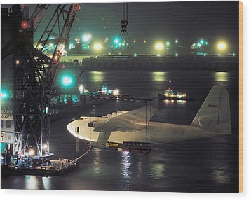 Spruce Goose Hanging From Crane February 10 1982 Wood Print