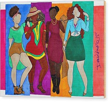 Squad Wood Print by Diamin Nicole