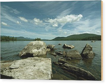 Squam Lake On The Rocks Wood Print by Rick Frost