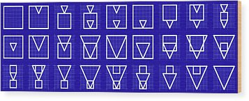 Squangle -alphabet- Grid Blueprint Wood Print by Coded Images