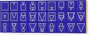 Squangle -alphabet- Grid Blueprint Wood Print