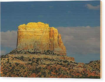 Square Butte - Navajo Nation Near Kaibeto Az Wood Print by Christine Till