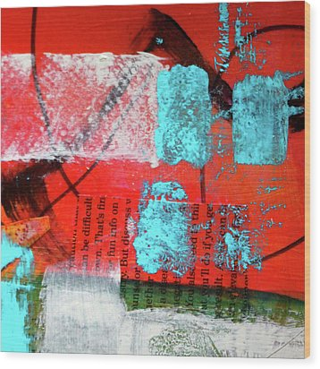 Wood Print featuring the mixed media Square Collage No. 10 by Nancy Merkle