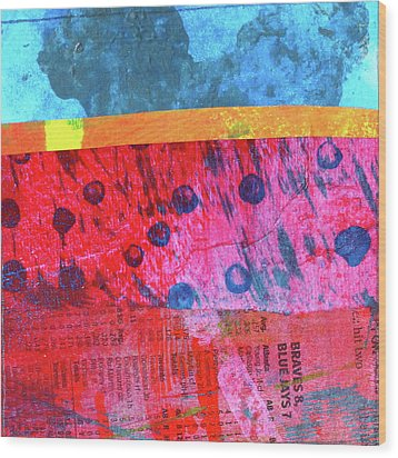 Wood Print featuring the painting Square Collage No. 12 by Nancy Merkle