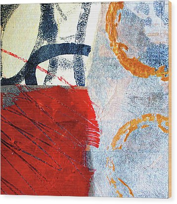 Wood Print featuring the painting Square Collage No. 3 by Nancy Merkle
