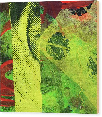 Wood Print featuring the mixed media Square Collage No. 8 by Nancy Merkle