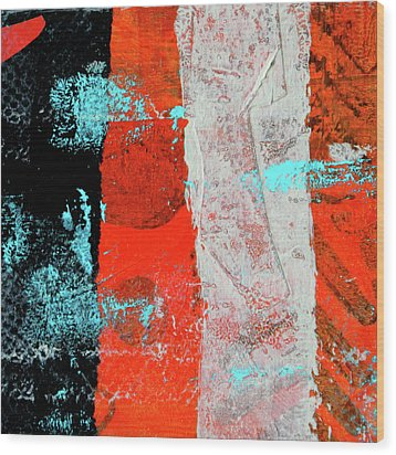 Wood Print featuring the mixed media Square Collage No. 9 by Nancy Merkle