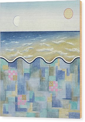 Square Fish And Sea Wood Print by Sally Appleby