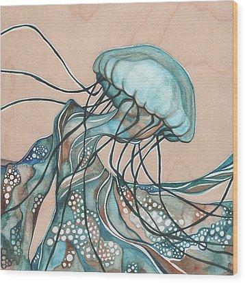 Square Lucid Jellyfish On Wood Wood Print