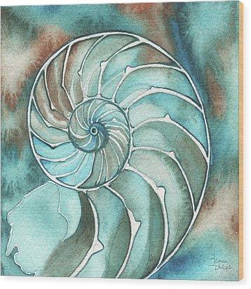 Square Nautilus Wood Print