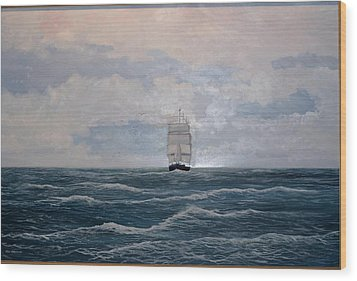 Square Rigger Wood Print by Ken Ahlering
