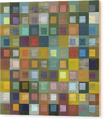 Squares In Squares Five Wood Print by Michelle Calkins