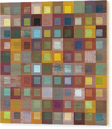 Squares In Squares Four Wood Print by Michelle Calkins
