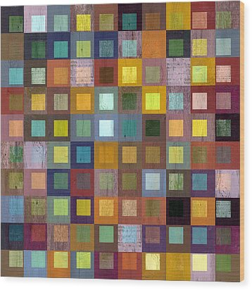 Squares In Squares One Wood Print by Michelle Calkins