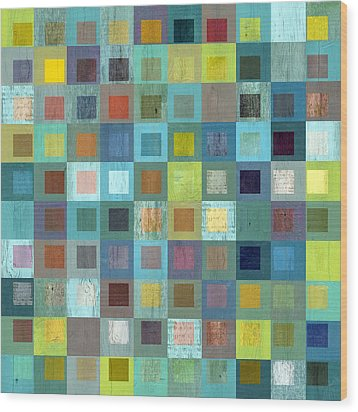 Squares In Squares Two Wood Print by Michelle Calkins