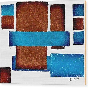 Squares Long And Short Wood Print by Marsha Heiken