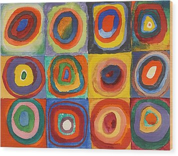 Squares With Concentric Circles Wood Print by Wassily Kandinsky