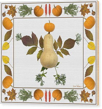 Squash With Pumpkin Head Wood Print