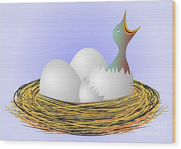 Squeaker Hatching From Eggs Wood Print