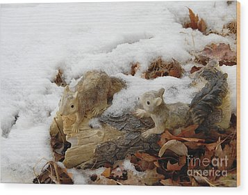 Squirrels In Winter Wood Print by Bill Hyde