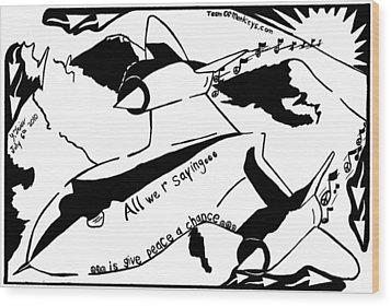 Sr-71 Blackbird Maze Cartoon By Yonatan Frimer Wood Print by Yonatan Frimer Maze Artist