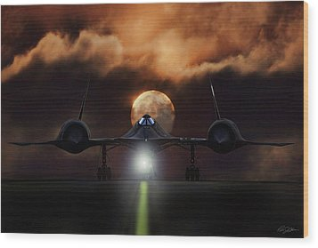Wood Print featuring the digital art Sr-71 Supermoon by Peter Chilelli
