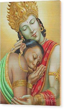 Sri Ram Embracing Hanuman Wood Print by Dominique Amendola