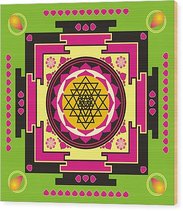 Sri Yantra Mandala Wood Print by Steeve Dubois