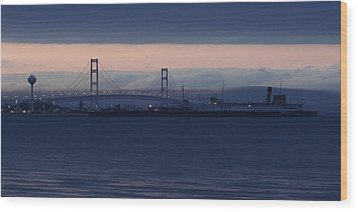 Ss Keewatin And Mackinac Bridge Wood Print