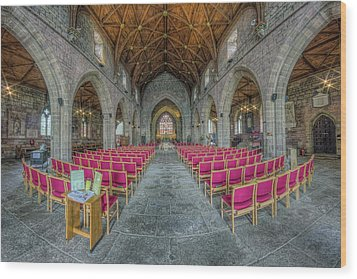Wood Print featuring the photograph St Asaph Cathedral by Ian Mitchell