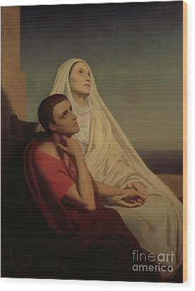 St Augustine And His Mother St Monica Wood Print by Ary Scheffer
