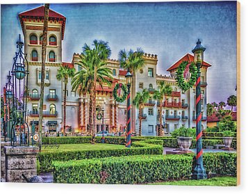 St. Augustine Downtown Christmas Wood Print