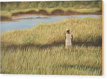 Wood Print featuring the pastel St. Augustine Fisherman by Jan Amiss
