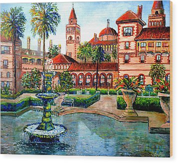 Wood Print featuring the painting St Augustine Florida by Lou Ann Bagnall