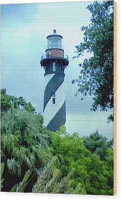 Wood Print featuring the photograph St Augustine Lighthouse by Frederic Kohli
