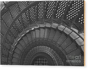 St. Augustine Lighthouse Spiral Staircase I Wood Print by Clarence Holmes