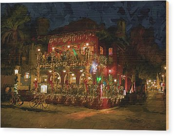 Wood Print featuring the photograph  St. Augustine Meehan's Pub by Louis Ferreira