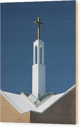 Wood Print featuring the photograph St Benedicts Church Rooftop by Gary Slawsky